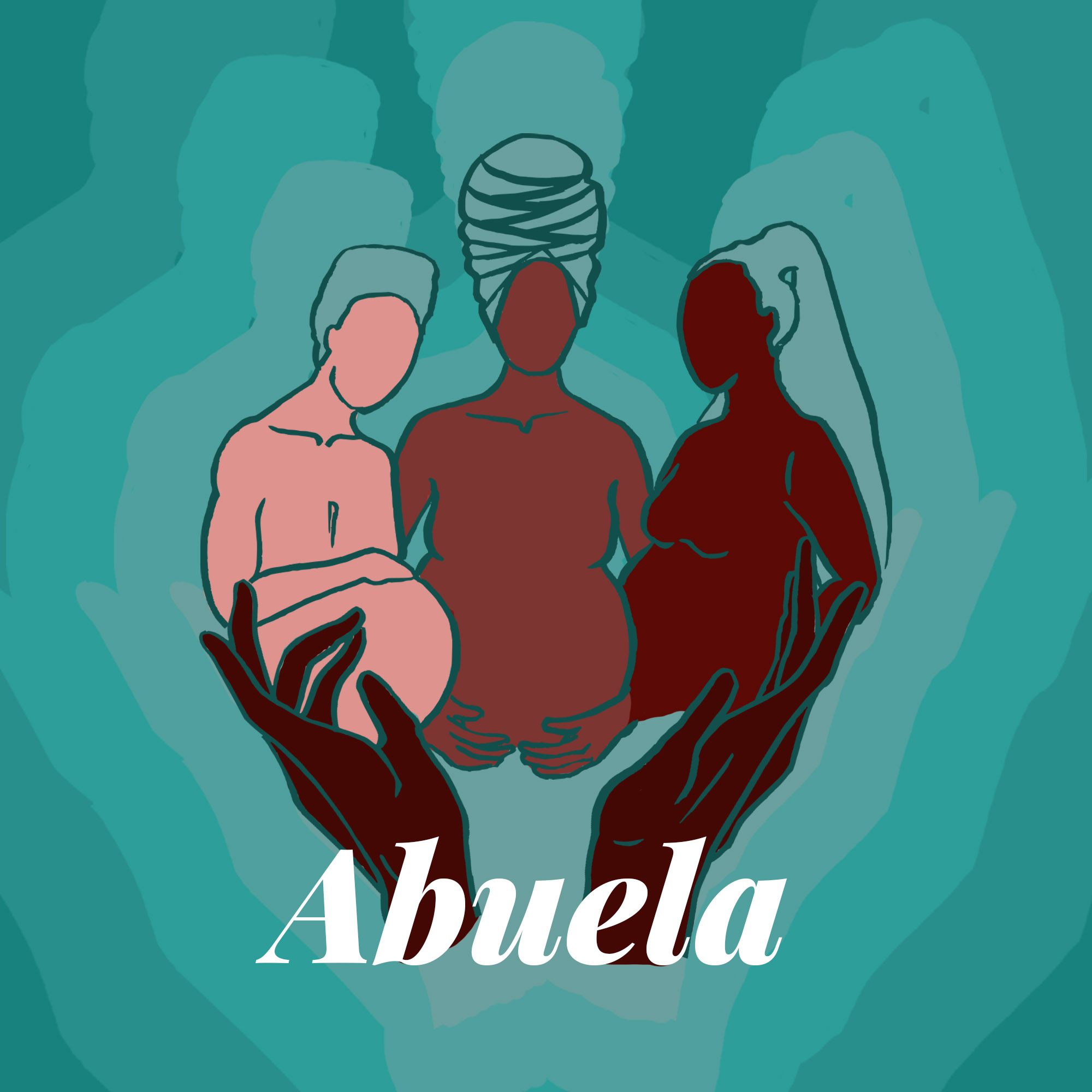 """Three people, wearing headwraps, being """"held"""" by a pair of hands with the word Abuela at the bottom"""